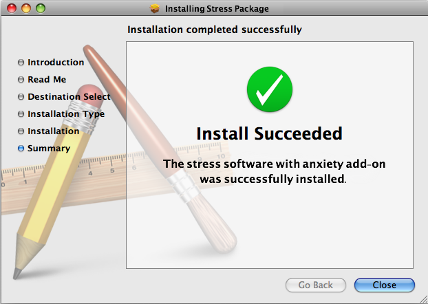 Software installation dialogue box