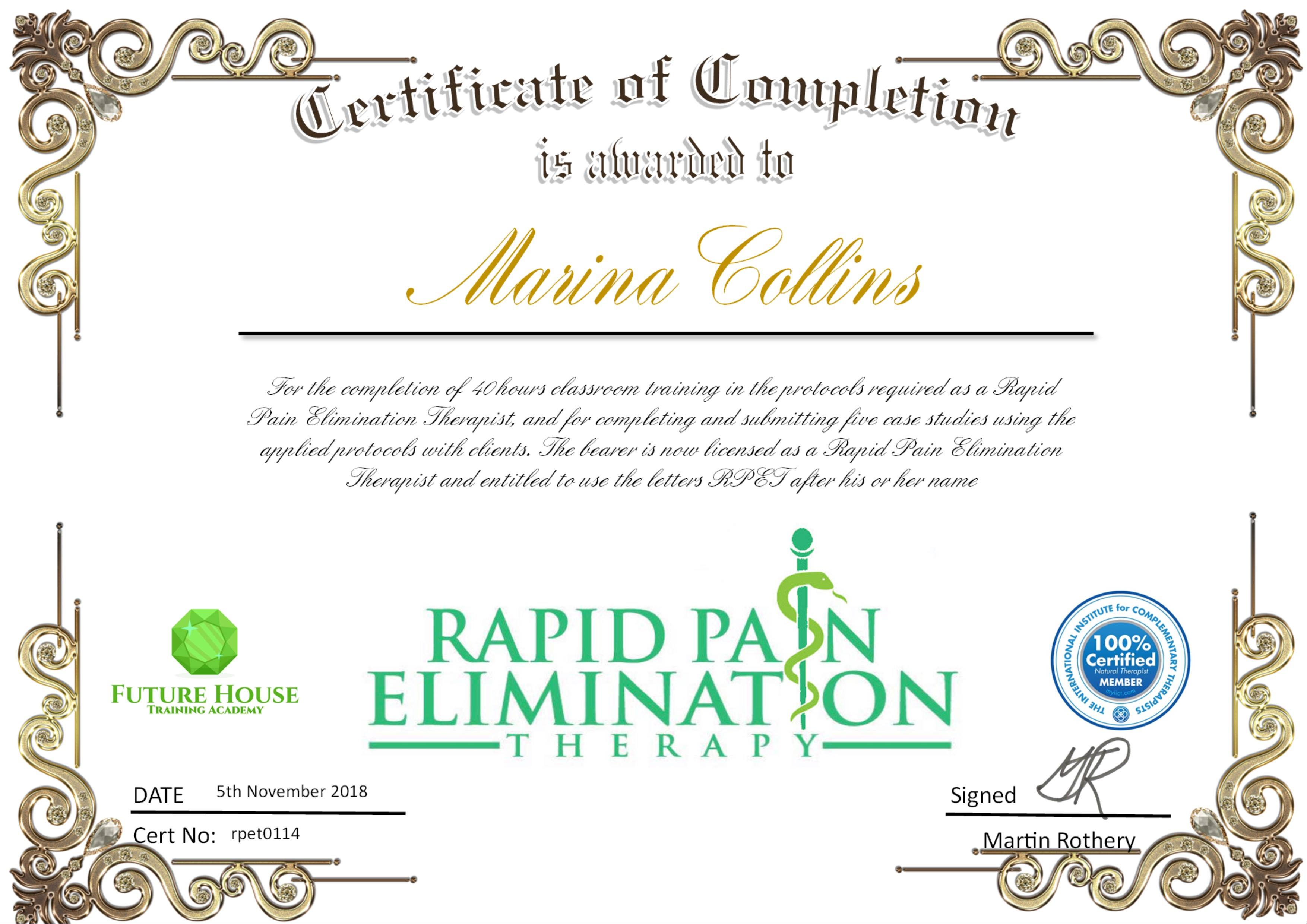 Certification for Rapid Pain Elimination